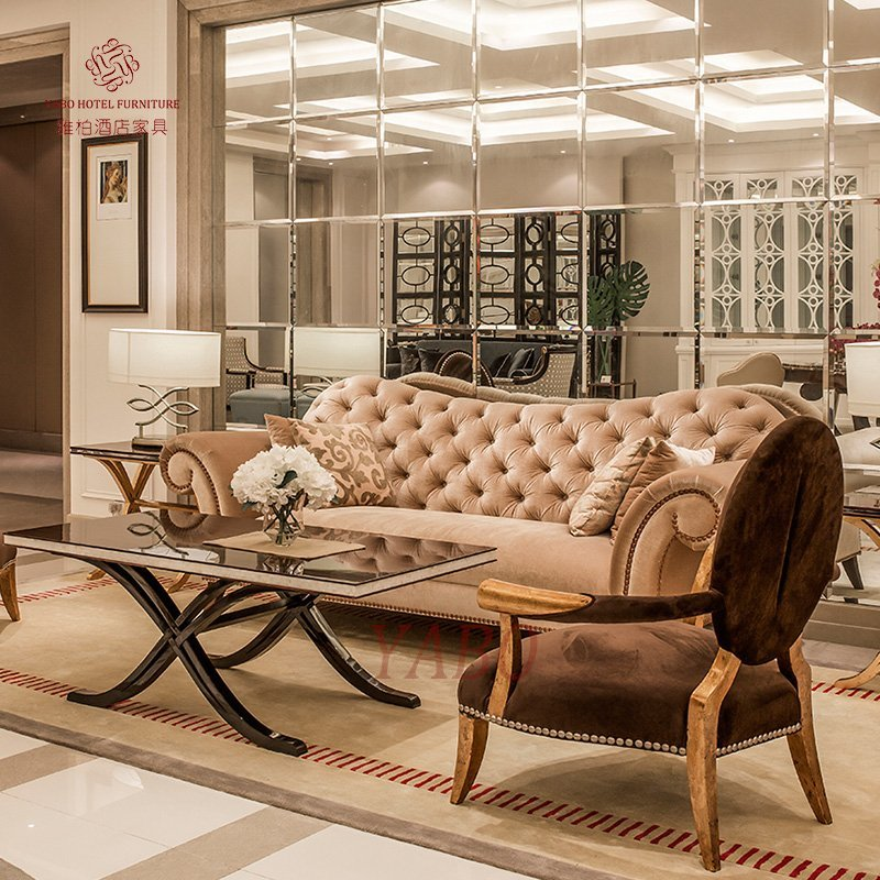 Luxury Lobby Flannel Sofa Set Furniture With Golden Painted Armrest And  Foot YB 104